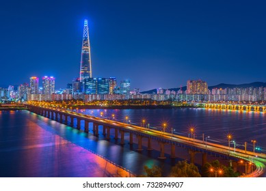 Seoul City Skyline at Han river Seoul, South korea.
