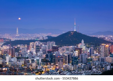 Seoul City Skyline and N Seoul Tower in South Korea