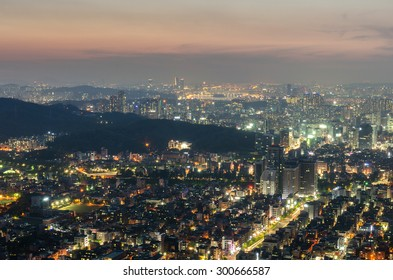 Seoul City Skyline View to downtown of Seoul,South Korea