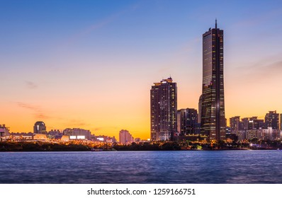 Seoul city and skyscraper, yeouido after sunset, south Korea.