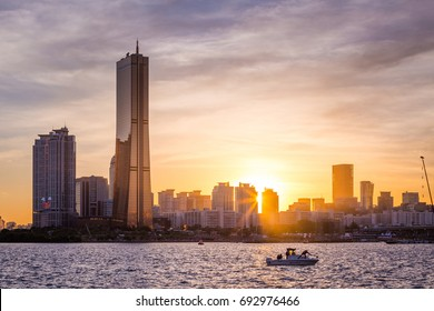 Seoul city and skyscraper, yeouido in sunset, south Korea.