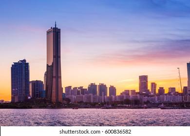 seoul city and skyscraper, yeouido in  twilight, south korea.