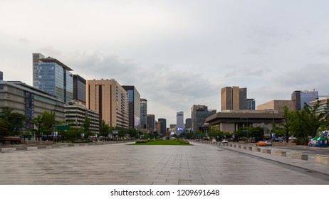 Seoul City, South Korea-June 13,2018 : Gwanghwamun Plaza located on Jung-gu Seoul has candle light protest in spring 2017. There are statue of Sejong the Great and admiral Yi Sun-Sin and fountain