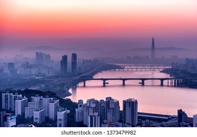 seoul city in sunrise south Korea