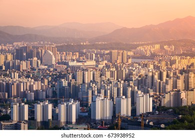 Seoul city in sunset in downtown Seoul, South Korea.
