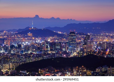 Seoul City in Twilight with Seoul Tower, South Korea