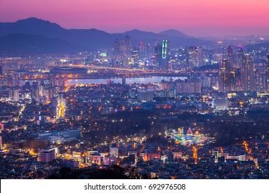 Seoul Cityscape, seoul at night, skyline and skyscraper, South Korea.