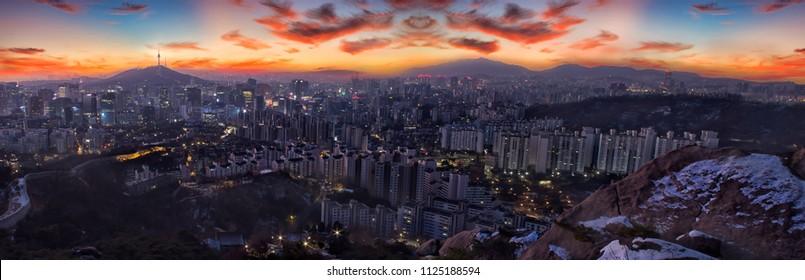 Seoul cityscape and Seoul tower in Seoul, South Korea.