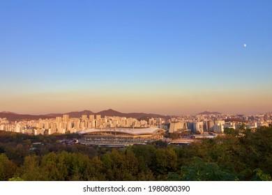 Seoul cityskape at sunset shot from above from Seoul Sky Park, South Korea
