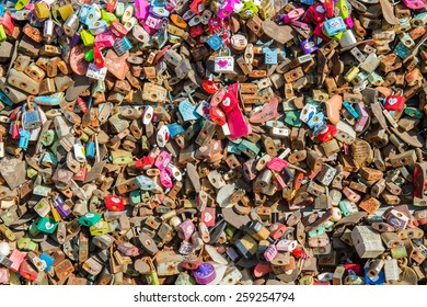 SEOUL - FEBRUARY 1 : Love padlocks at N Seoul Tower or Locks of love is a custom in some cultures which symbolize their love will be locked forever at Seoul Tower on February 1,2015 in seoul,Korea.