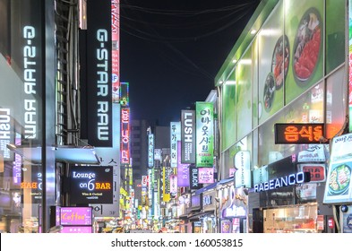 SEOUL - FEBRUARY 14: Myeong-Dong Neon Lights February 14, 2013 in Seoul, South Korea. The location is the premiere district for shopping in the city.