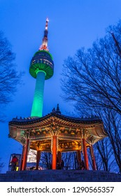 SEOUL - FEBRUARY 15, 2015: Namsan Tower  at Night or seoul tower and pavilion traditional architecture of Korea on february 15, 2015 in seoul,south korea.