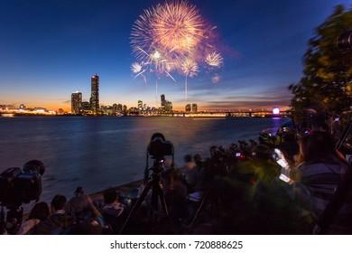 Seoul Fireworks Festival in Night city, South Korea.