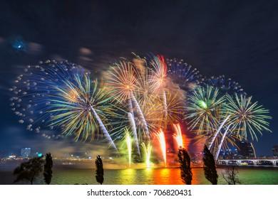 Seoul Fireworks,Colorful fireworks in Seoul ,South Korea