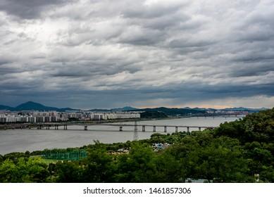 Seoul hangang river park view.