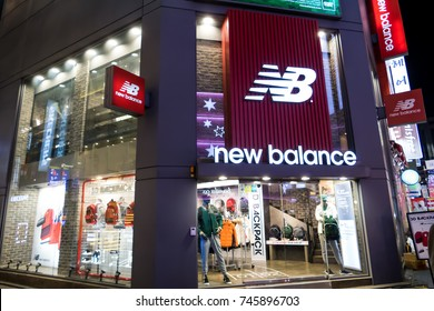 SEOUL - JANUARY 30: New Balance at Myeongdong Market shopping street popular and latest fashion center of Korea on January 30, 2016 at Myeongdong Market in Seoul, South Korea.