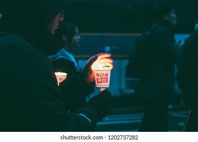Seoul, Korea - 11 26 2018 : People at Candlelight Vigil