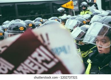 Seoul, Korea - 11 26 2018 : Patrol at Candlelight Vigil