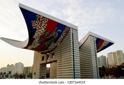SEOUL, KOREA - 2 DECEMBER 2018: The World Peace Gate built between 1986 and 1988 for the Seoul Olympic Games by architect Kim Chung-up to symbolise peace and harmony and ability of the Korean people