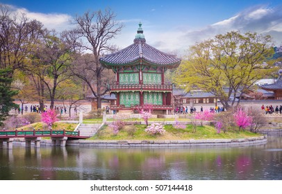 SEOUL, KOREA - April 12, 2015: gyeongbokgung palace in spring, place is travel of seoul in korea.