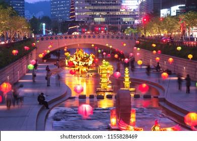 Seoul, Korea - April 24, 2008 : Seoul Lantern Festival in Cheonggye creek