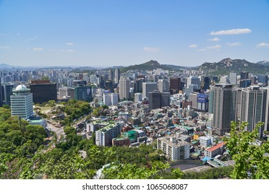 Seoul, Korea - April 26, 2017:  Cityscape of Hoehyeon-dong and Myeong-dong, central area of Seoul. The view is from Namsan mountain observatory.