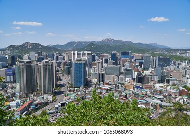 Seoul, Korea - April 26, 2017:  Cityscape of Hoehyeon-dong. Hoehyeon-dong in Junggu is a central area of Seoul. The view is from Namsan mountain observatory.