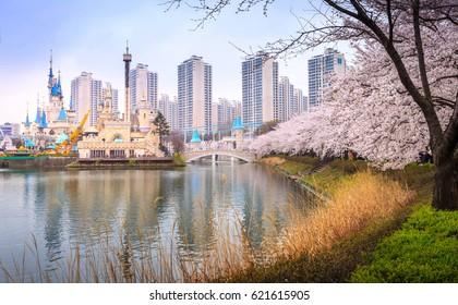SEOUL, KOREA - APRIL 5, 2015: Lotte World, Amusement park, Seoul Korea.