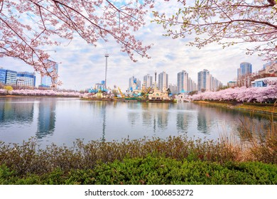 SEOUL, KOREA - APRIL 5, 2015:Lotte World, Amusement park, tourist in spring with cherry blossoms in Seoul South Korea on April 5, 2015
