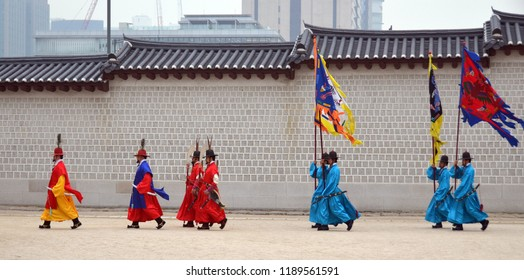 SEOUL KOREA APRIL 7: Participant at the Deoksugung Palace Royal Guard-Changing Ceremony on april 07 2013 in Seoul. Is a tradition similar to the Changing of the Guards at Buckingham Palace