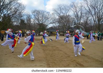 SEOUL KOREA APRIL 7: Sangmo dancers during Korean folk dance show on april 7 2013 in Seoul Korea. Sangmo dance is one of the favorite dances of the Korean people.