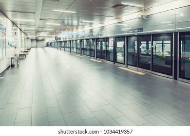 SEOUL, KOREA - AUGUST 12, 2015: Empty subway platform at Sogang University station - Seoul, Korea