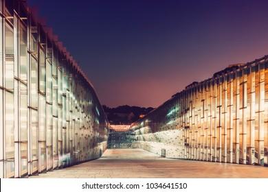 SEOUL, KOREA - AUGUST 12, 2015: Ewha Womans University main library building at night time - very prestigious school in Seoul, South Korea