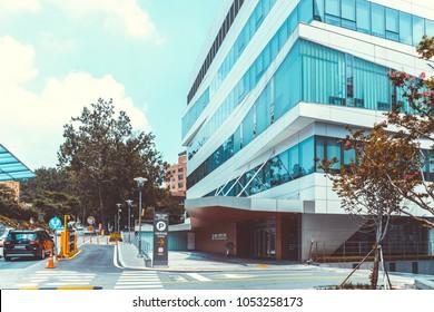 SEOUL, KOREA - AUGUST 12, 2015: One of newest buildings of Severance hospital of Yonsei University - prestigious high end hospital in Seoul, South Korea