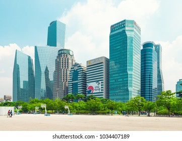 SEOUL, KOREA - AUGUST 14, 2015: Yeouido - Seoul's main finance and investment banking district and office area of Koreas top businesses in finance, IT and manufacturing industries - Seoul, Korea