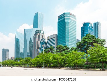 SEOUL, KOREA - AUGUST 14, 2015: Beautiful Yeouido - Seoul's main finance and investment banking district and office area of Korea's top businesses in finance, IT and manufacturing industries - Seoul