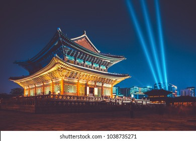 Seoul, Korea - August 14, 2015: Gyeongbokgung palace at night being opened for visitors - Seoul, Republic of Korea
