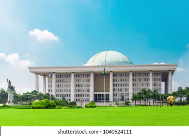 SEOUL, KOREA - AUGUST 14, 2015: Building of National Assembly Proceeding Hall - Capitol building of South Korean Republic, located on Yeouido island - Seoul, Korea