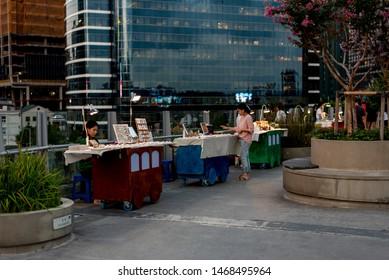 Seoul, Korea, August 2, 2019 - view of seoullo 7017 sky park. seoullo7017 is Seoul Station Overpass Park.