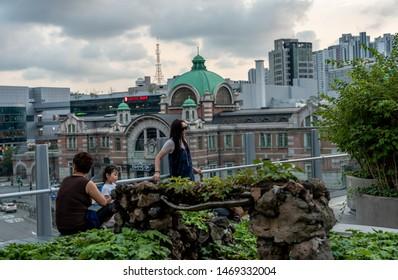 Seoul, Korea, August 2, 2019 - view of Seoullo 7017 sky park. Seoullo 7017 is Seoul Station Overpass Park.