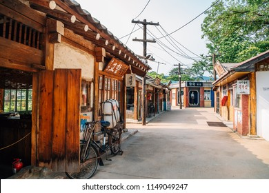 Seoul, Korea - August 3, 2018 : Korean old village at The National Folk Museum of Korea