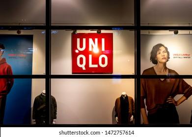 Seoul, Korea, August 7, 2019 : Uniqlo store in D-cube city. Japan's fast fashion brand.