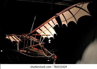 SEOUL, KOREA - December 13, 2017 : flying machine models of Leonardo da Vinci's