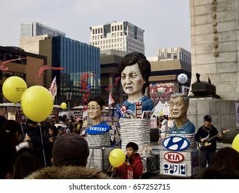 Seoul, Korea, December 31, 2016, the Protest against Park Guen-Hye Government