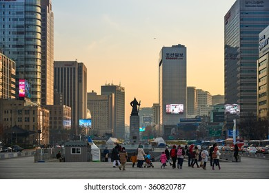 Seoul, Korea - December 9, 2015: Admiral Yi Sun-Shin statue at Gwanghwamun. The plaza is a public space on Sejongno and is historical significant as the location of royal administrative buildings.