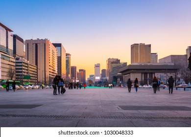 SEOUL, KOREA - February 10, 2016: Seoul Cityscape in downtown and skyscraper , South Korea.