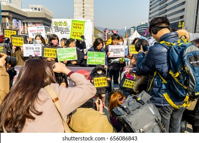 Seoul, Korea, February 15th, 2017, Protest  against importing Japanese seafood at the Gwanghwamun square in Seoul of South Korea