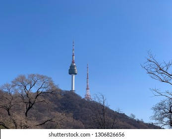 Seoul, Korea - January 26, 2019: The N Seoul Tower, commonly known as the Namsan Tower, is located on Namsan Mountain in Seoul, Korea.
