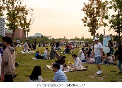 SEOUL, KOREA : JULY 13, 2019.  Hangang Park summer view.