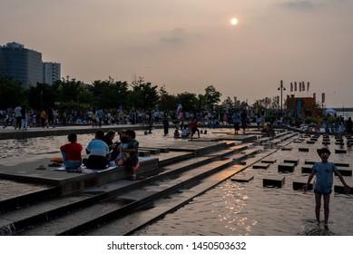 SEOUL, KOREA : JULY 13, 2019.  Hangang  River Park summer view. (Seoul logo name : I SEOUL U)